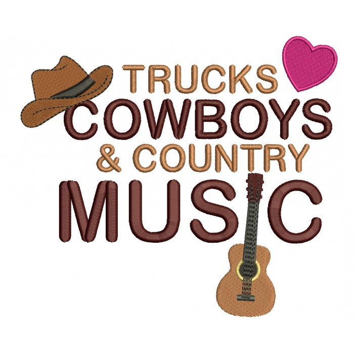 Trucks Cowboys and Country Music Filled Machine Embroidery Digitized Design Pattern