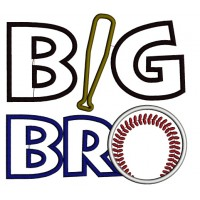 Big Bro Baseball Applique Machine Embroidery Digitized Design Pattern