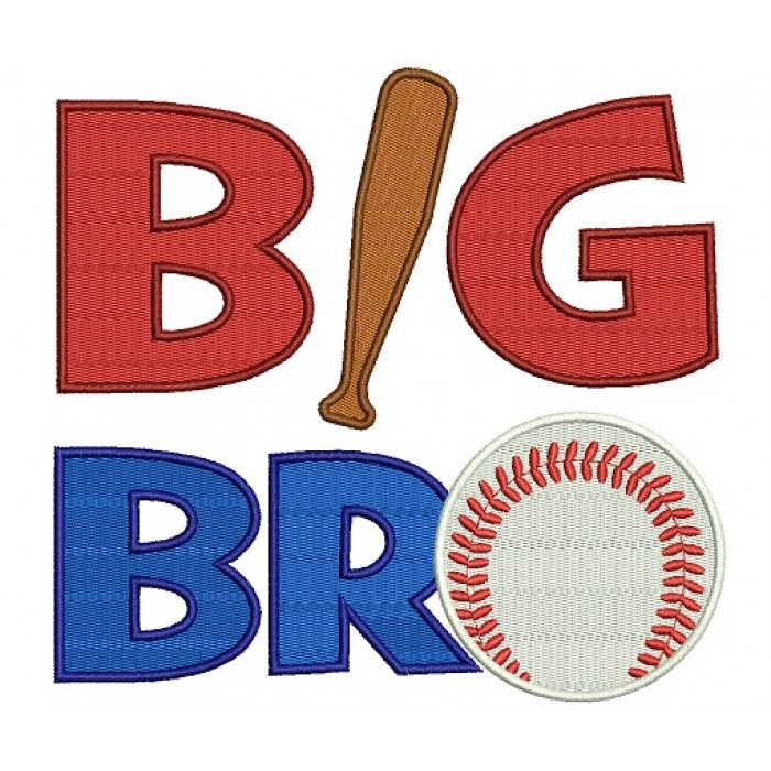 Big Bro Baseball Filled Machine Embroidery Digitized Design Pattern