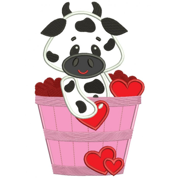 Big Smile Cow in the Bucket with Flowers Applique Machine Embroidery Digitized Design Pattern