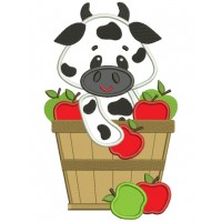 Big Smile Cow in the bucket with Apples Applique Machine Embroidery Digitized Design Pattern