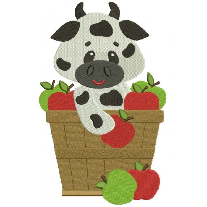 Big Smile Cow in the bucket with Apples Filled Machine Embroidery Digitized Design Pattern