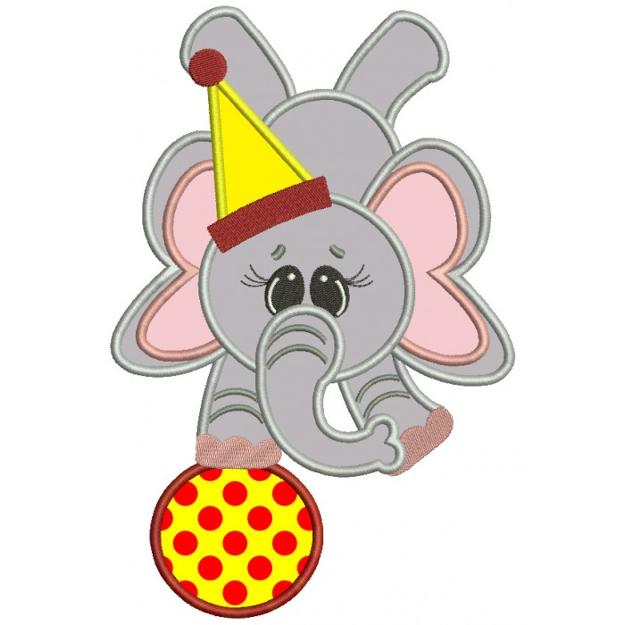 Circus Elephant Balancing on a ball Applique Machine Embroidery Digitized Design Pattern