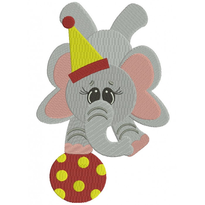 Circus Elephant Balancing on a ball Filled Machine Embroidery Digitized Design Pattern
