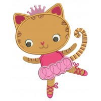 Cute Ballerina Cat with a little Crown Applique Machine Embroidery Digitized Design Pattern