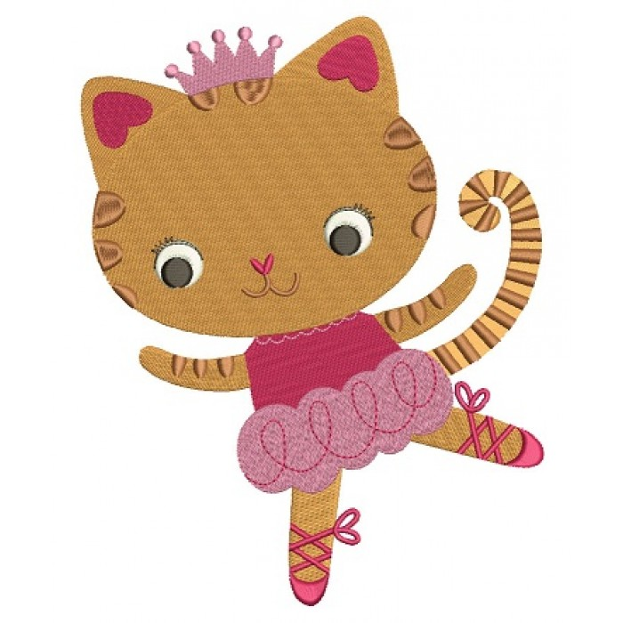 Cute Ballerina Cat with a little Crown Filled Machine Embroidery Digitized Design Pattern