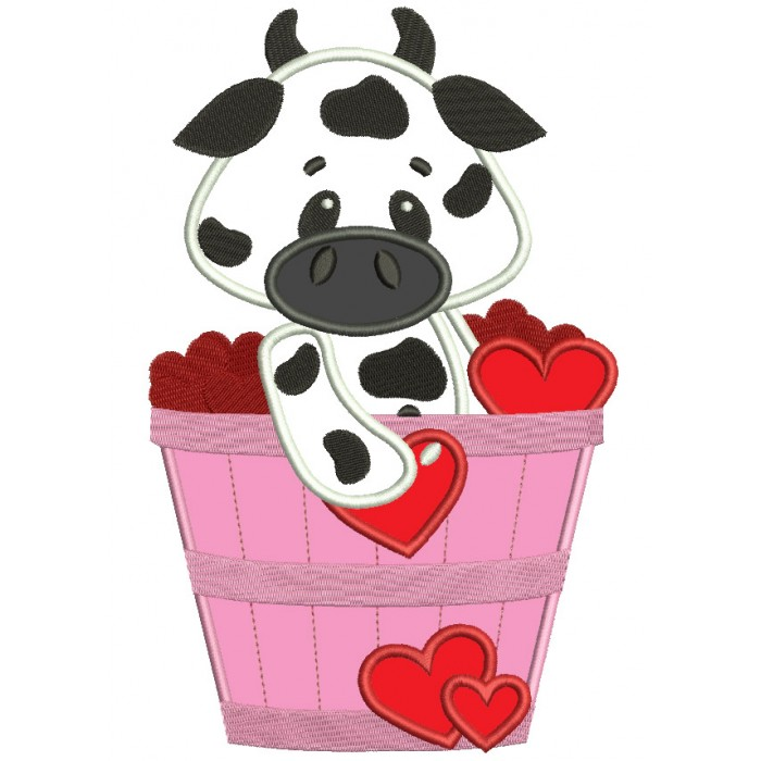 Cute Cow in the Bucket with Flowers Applique Machine Embroidery Digitized Design Pattern