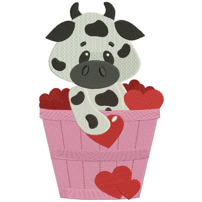 Cute Cow in the Bucket with Flowers Filled Machine Embroidery Digitized Design Pattern