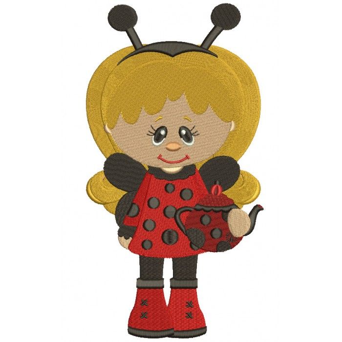 Cute Girl Lady Bug Apples Filled Machine Embroidery Digitized Design Pattern