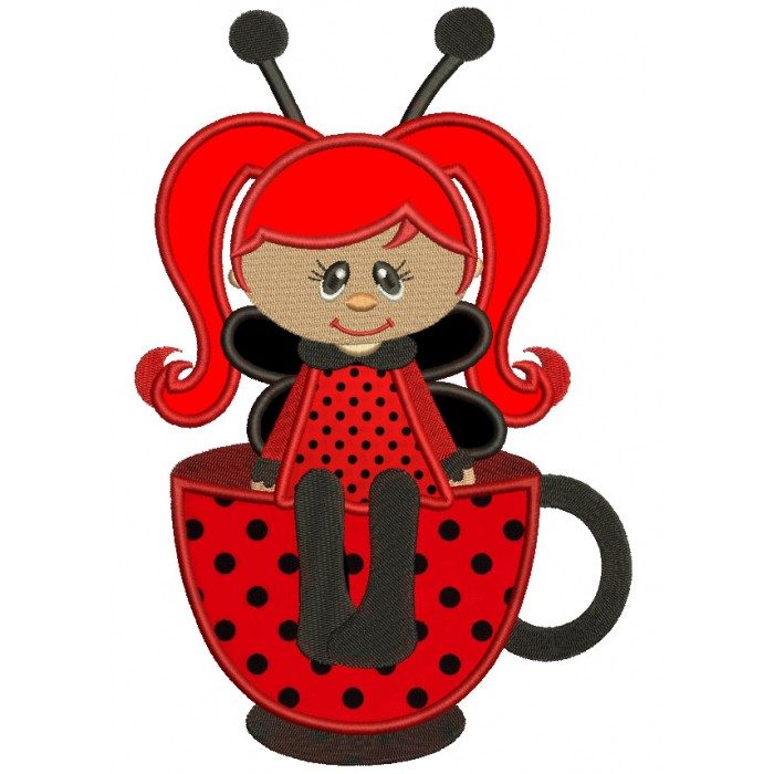 Cute Girl Ladybug sitting on a cup Applique Machine Embroidery Digitized Design Pattern