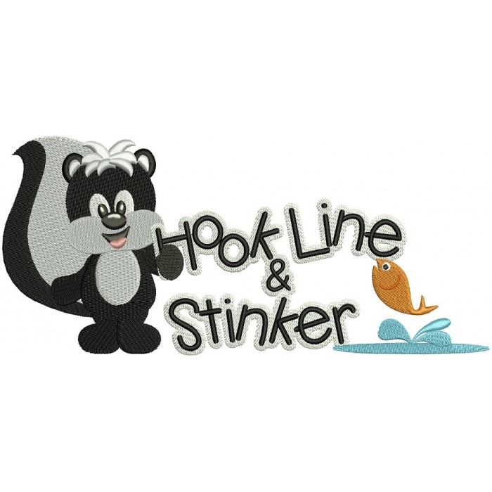 Hook Line and Sinker Skunk Filled Machine Embroidery Digitized Design Pattern