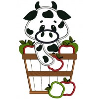 Little Cow in the bucket with Apples Applique Machine Embroidery Digitized Design Pattern