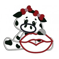Little Cow with a BIg Smile Applique Machine Embroidery Digitized Design Pattern