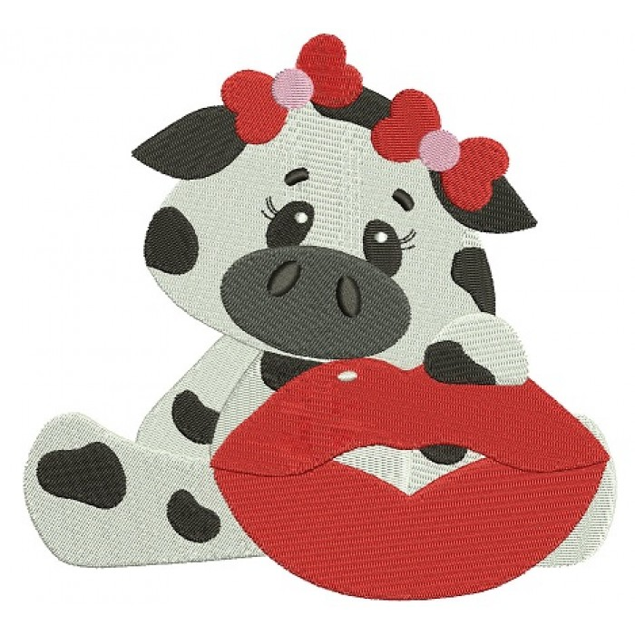 Little Cow with a BIg Smile Filled Machine Embroidery Digitized Design Pattern