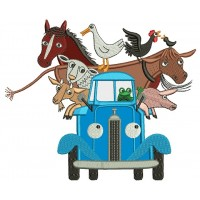 Truck with Animals Applique Machine Embroidery Digitized Design Pattern