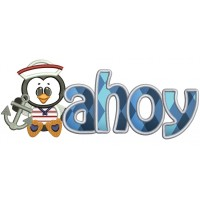 Ahoy Marine Anchor Penguin Applique Machine Embroidery Digitized Design Pattern
