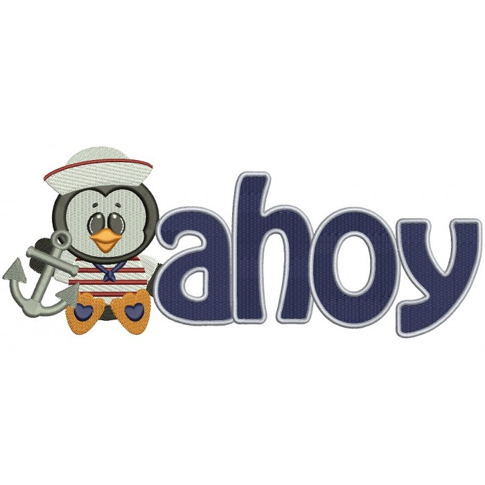 Ahoy Marine Anchor Penguin Filled Machine Embroidery Digitized Design Pattern