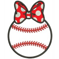 Baseball Girl With a Bow Applique Machine Embroidery Digitized Design Pattern