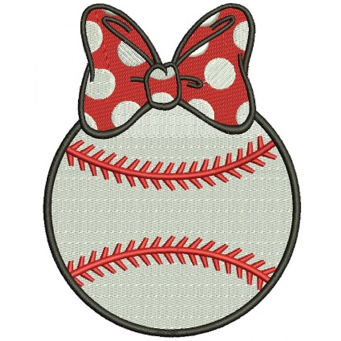 Baseball Girl With a Bow Filled Machine Embroidery Digitized Design Pattern