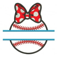 Baseball Girl With a Bow Split Applique Machine Embroidery Digitized Design Pattern