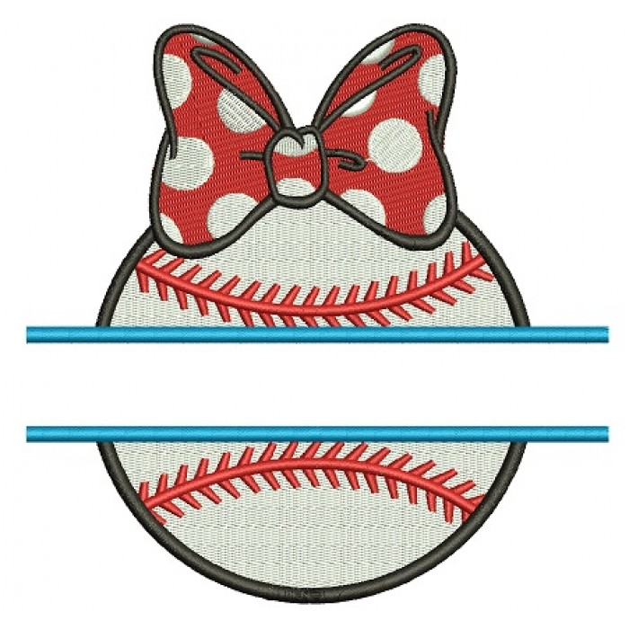 Baseball Girl With a Bow Split Filled Machine Embroidery Digitized Design Pattern