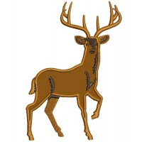Big Buck with Antlers Hunting Applique Machine Embroidery Digitized Design Pattern