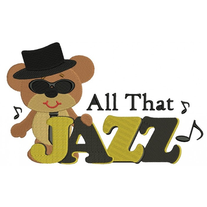 Cool Bear All That Jazz Filled Machine Embroidery Digitized Design Pattern
