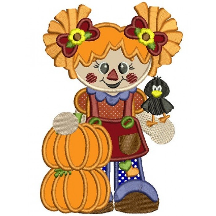 Cute Scarecrow Girl with two pumpkins Applique Machine Embroidery Digitized Design Pattern