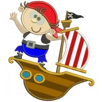 Cute Boy Pirate on a Ship Marine Applique Machine Embroidery Digitized Design Pattern