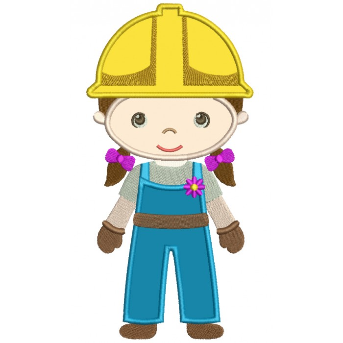Gir Construction Worker Applique Machine Embroidery Digitized Design Pattern