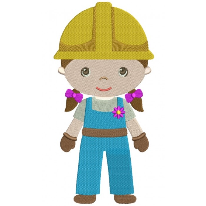 Gir Construction Worker Filled Machine Embroidery Digitized Design Pattern