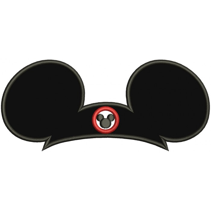 Looks Like Mickey Big Hat Applique Machine Embroidery Digitized Design Pattern
