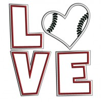 Love Baseball Big Heart Sport Applique Machine Embroidery Digitized Design Pattern