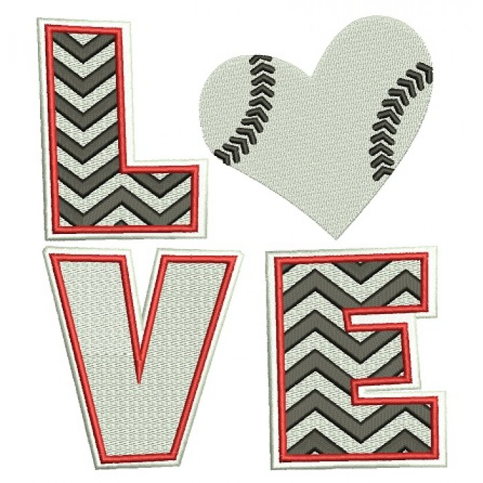 Love Baseball Big Heart Sport Filled Machine Embroidery Digitized Design Pattern