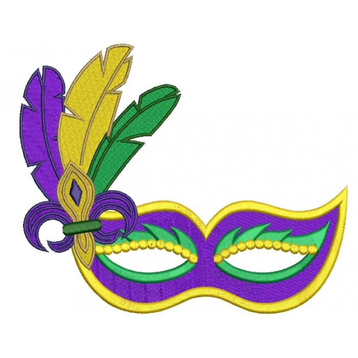 Mardi Gras Mask With Feathers And Fleur De Lis Filled