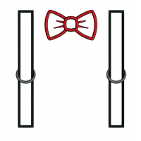 Suspenders with Bow Applique Machine Embroidery Digitized Design Pattern