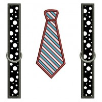Suspenders with Tie Applique Machine Embroidery Digitized Design Pattern