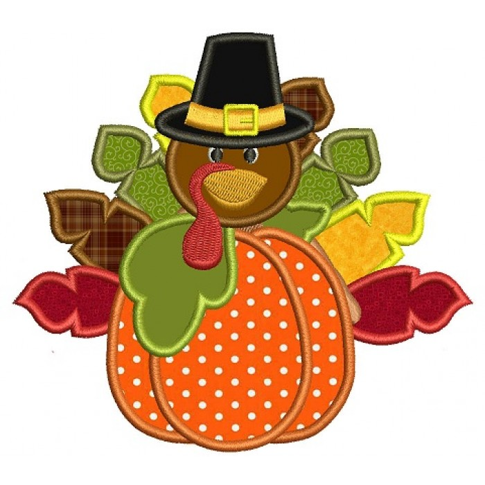 Turkey With a Hat on a Pumpkin Thanksgiving Applique Machine Embroidery Digitized Design Pattern