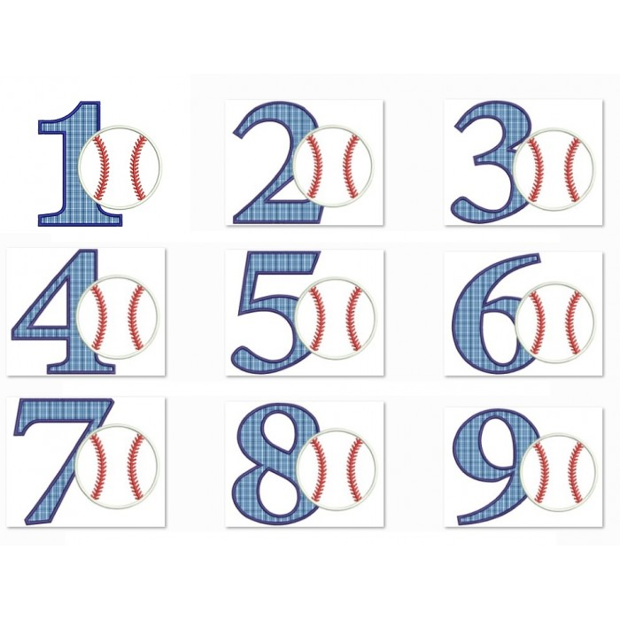 Baseball Birthday Number Set 1-9 Sports Applique Machine Embroidery Digitized Design Pattern