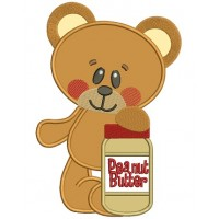 Cute Bear With Peanut Butter Applique Machine Embroidery Digitized Design Pattern