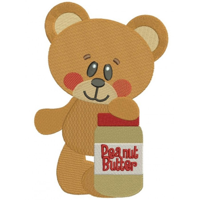 Cute Bear With Peanut Butter Filled Machine Embroidery Digitized Design Pattern