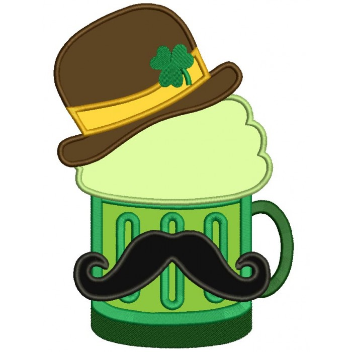 Irish Beer With Mustache And St Patricks Hat With Shamrock Applique