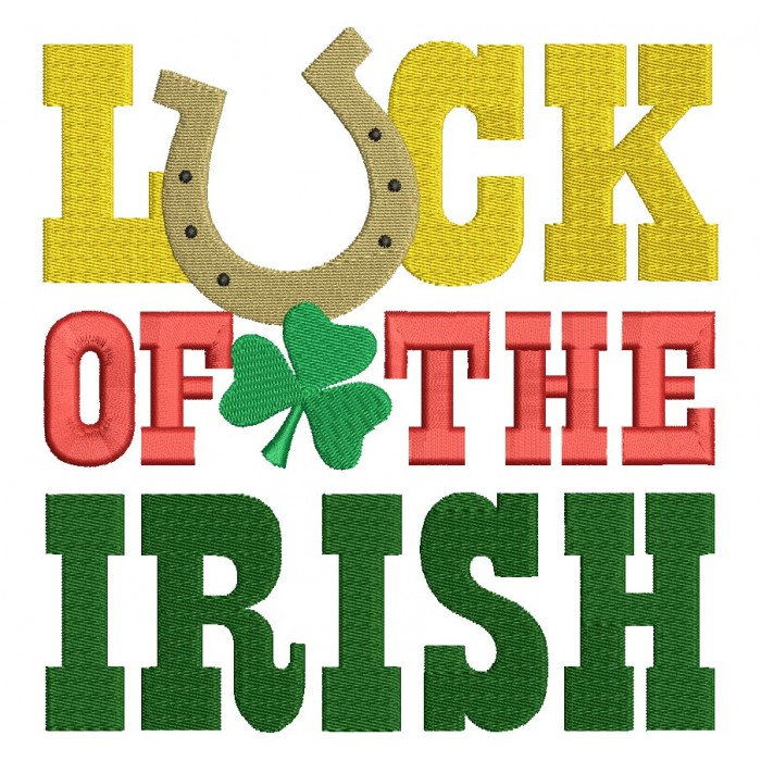 Luck Of The Irish Filled Machine Embroidery Digitized Design Pattern