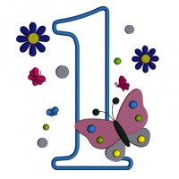 Number One With Butterfly Birthday Applique Machine Embroidery Digitized Design Pattern