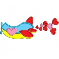 Airplane With Hearts Applique Machine Embroidery Digitized Design Pattern