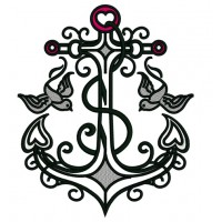 Anchor With Doves Applique Machine Embroidery Digitized Design Pattern