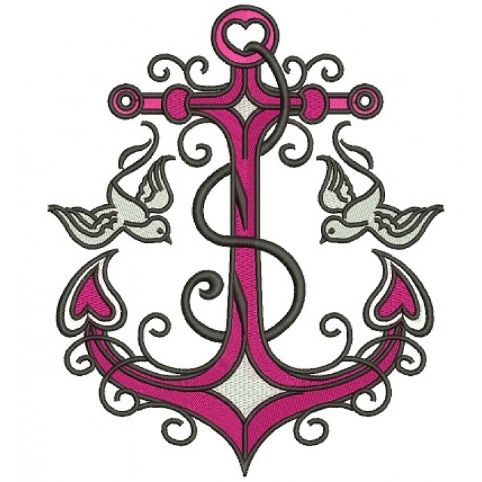 Anchor With Doves Filled Machine Embroidery Digitized Design Pattern
