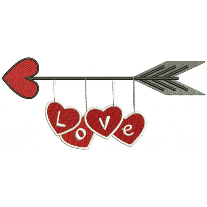 Love Arrow Filled Machine Embroidery Digitized Design Pattern
