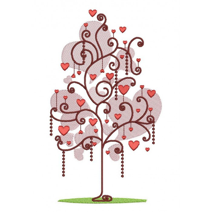 Tree With Hearts Filled Machine Embroidery Digitized Design Pattern