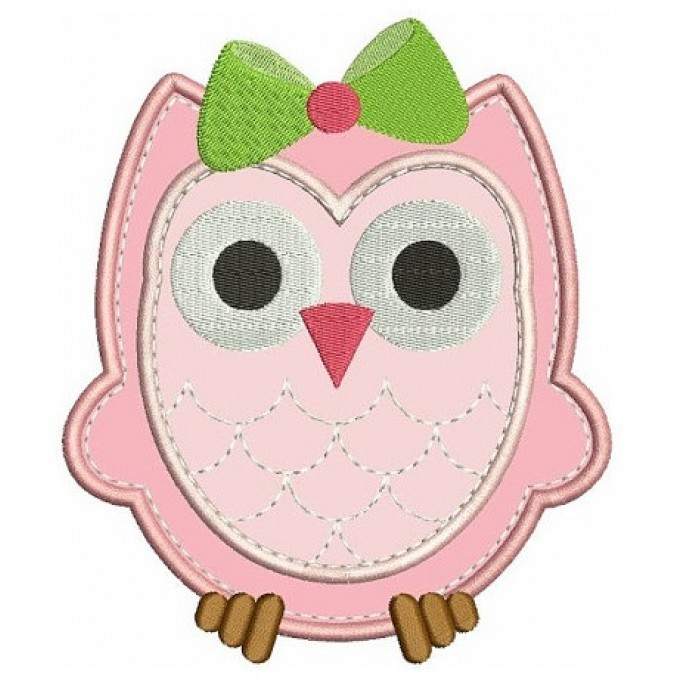 Baby Owl With Cute Bow Applique Machine Embroidery Digitized Design Pattern 700x700 Jpg
